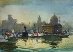 Watercolour Paintings By Prafull Sawant on Behance Watercolor Art Diy, Watercolor Art Paintings, Watercolor Artists, Gouache Painting, Watercolor Techniques, Watercolor Landscape, Landscape Paintings, Art Techniques, Illustration Artists
