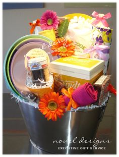 Bakers Gift Basket - Las Vegas Gift Baskets -Bowls, Apron, Mixing Spoons, Towels, Baking Mixes  www.noveldesignsllc.com