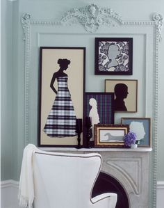 DIY art idea - fabrics and patterns mixed with black and white silhouettes