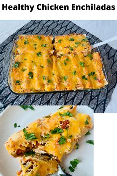 These chicken enchiladas have a creamy filling with yogurt, black beans, roasted corn, chicken, and spices. You stuff the tortillas with this creamy filling and then top with salsa and cheese. This is meal prep friendly for a busy week ahead. Mexican Salads, Mexican Food Recipes, Healthy Recipes, Healthy Chicken Enchiladas, Enchilada Ingredients, Corn Chicken, Mild Salsa, Roasted Corn, Baked Chicken Breast