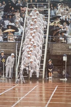 Track judges at the 1964 Summer Olympics in Tokyo.