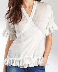 Plain white ruffle t shirt for women deep v neck tops tie design