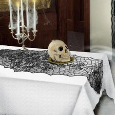 TAOS Halloween Decoration Black Lace Leaf Table Runner Scarf Cover Tablecloth Halloween Festive Party Supplies 188 x 55cm