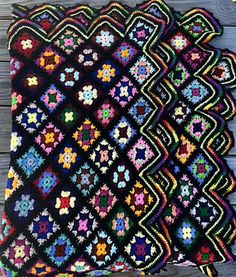 Vintage Granny Square Afghan Crochet Lap Throw Multicolor Black Scallop Edge Blanket 45 x 70 Inches