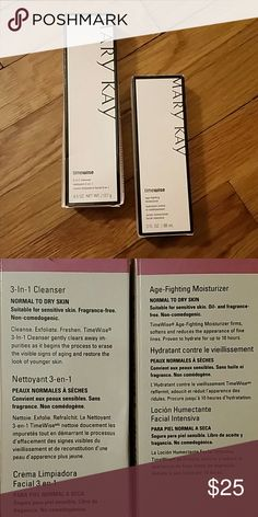 **MARY KAY BUNDLE** BRAND NEW! Mary Kay's timewise 3 in 1 cleanser and age fighting moisturizer for normal to dry skin! The boxes are a little bent out of shape, but neither product has been used! Mary Kay Other