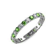 Green Garnet and Lab Grown Diamond U-prong Womens Eternity Ring Stackable ctw* Platinum Prongs Set Sapphire Eternity Band, Sapphire And Diamond Band, Eternity Bands, Diamond Bands, Blue Sapphire, September Birthstone Rings, 18k Gold, Finger, Wedding Anniversary