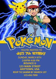 Pokemon Birthday Invitation, Pokemon, Birthday, Invitations
