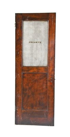 """original 19th century varnished mahogany wood interior reliance building """"private"""" lavatory door with intact gold leaf lettering - daniel burnham & co., architects"""