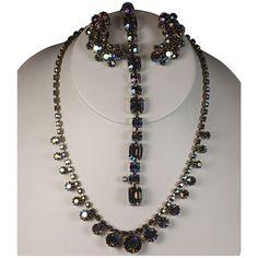 Blue Aurora Borealis Rhinestone Parure Necklace Bracelet Earrings