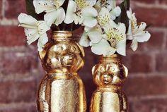 Gold flake honey bear jars
