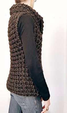 Crochet Vests Instructions to make: the Knit TC Vest PDF Pattern Crochet Shrug Pattern, Vest Pattern, Tunisian Crochet, Knit Crochet, Crochet Vests, Easy Knitting Patterns, Simple Knitting, Black Crochet Dress, Easy Crochet Projects