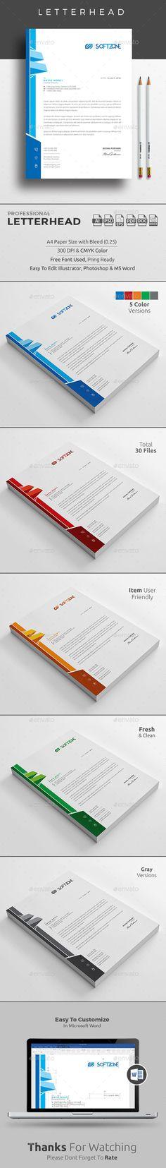 Letterhead Templates PSD, MS Word Bundle Letterhead Design - corporate letterhead template