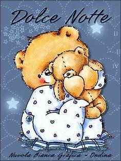 Buona serata - Buonanotte Cute Cartoon Pictures, Cartoon Pics, Good Night Image, Good Morning Good Night, Tatty Teddy, Teddy Bear, Friends Forever, Childrens Books, Sleep
