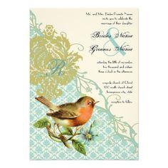 Vintage Bird Coral Lagoon Endive Damask Wedding Announcement