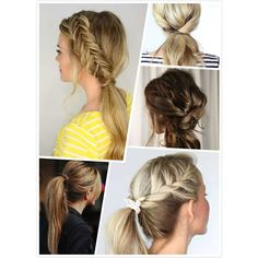 10 Lovely Ponytail Hair Ideas For Long Hair found on Polyvore featuring polyvore