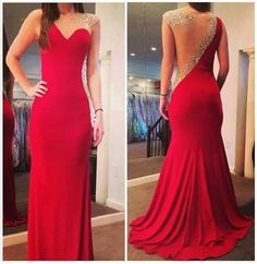 Cheap prom dresses, Buy Quality long prom dresses directly from China long prom Suppliers: 2017 Bead Rhinestones Backless Evening Dresses One Soulder Red Chiffon Mermaid Long Prom Dress Vestidos De Custom Made Prom Dresses 2016, Formal Dresses, Prom Gowns, Dress Prom, Party Dress, Dress Wedding, Dresses Dresses, Long Dresses, Red Prom Dresses