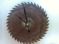 Upcycled saw blade clock. was given a old vintage saw blade .... Things to do...