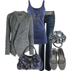 Blue tank, grey sweater, jeans, grey flats, cocktail ring, long sliver/blue necklace(s), blue purse