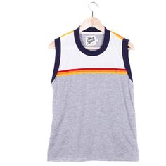 RANDY MUSCLE TEE Camp Collection ($18) ❤ liked on Polyvore featuring tops, crew top, summer tanks, summer tank tops, crew neck tank top and summer tops
