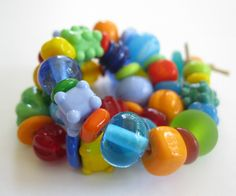 50 Handmade Lampwork Beads SRA Bright Carnival by bethsingleton,