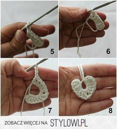 Pano pra Mangas: Tutorial: Tiny crochet hearts ☀CQ Thank you for sharing! Appliques Au Crochet, Crochet Motif, Crochet Crafts, Crochet Yarn, Yarn Crafts, Crochet Flowers, Crochet Stitches, Crochet Projects, Crochet Patterns