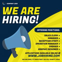 job hiring ad templates, hiring flyers, job hiring announcement, were hiring templates, small business hiring, workers needed, employees wanted, job flyers. We Are Hiring, Jobs Hiring, Business Flyers, Operations Management, Announcement, Company Logo, Positivity, Ads, Graphic Design