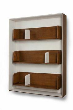 Rare wall mounted shelving units by Gio Ponti Unique Wall Shelves, Wood Wall Shelf, Wood Shelving Units, Wood Shelves, Wall Shelving, Storage Shelving, Bookcase Shelves, Shelving Ideas, Wood Storage