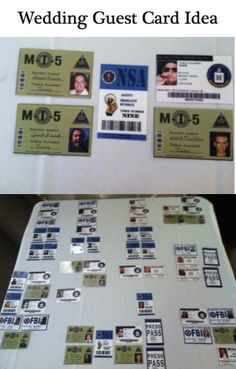 A couple with a law enforcement background chose a unique FBI ID card theme for the guest table cards.  #PittsburghWeddingMusic