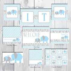 Blue & Grey Elephant Baby Shower Party Package-It's by AllbyWanda