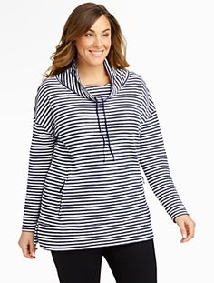 Talbots - Textured-Stripe Cowlneck Top | Tees and Knits | Woman $90
