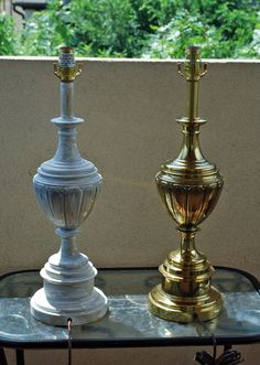 Lamp Redo: From Brass to Chalk Paint Need to do this to our ugly lamp in the bedroom