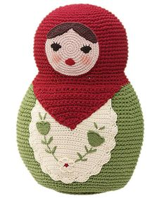 Crocheted pillow - so frustrating to find something this fantastic and not give a way to purchase or link to a pattern.  I googled and don't see it anywhere else.  Bleah.  I think it would also be adorable weighted and used as a doorstop.