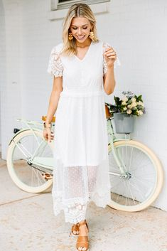This midi dress is stunning! That sheer lace fabric is so light and airy! You can shop this beauty at the Mint Julep Boutique! Pretty White Dresses, Beautiful Summer Dresses, Little White Dresses, Fabulous Dresses, Wedding Dresses Under 100, Bridesmaid Dresses Under 100, Bridesmaids, White Midi Dress, Dress Lace