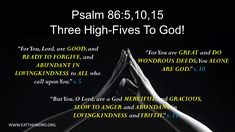 www.eattheword.org Psalm 86, High Five, Forgiveness, Lord, Inspirational, Good Things, Give Me 5, Letting Go