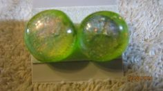 Olive Green Large Round Glass Stud Earrings Surg Steel Posts   Imaginative_Creations - Jewelry on ArtFire