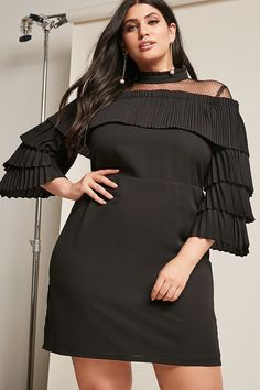 Plus Size Accordion Pleat Dress - Plus Size Party Dress #plussize