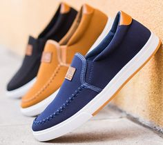 Men's driving shoes canvas shoes Breathable slip-on shoes fashion sneakers #Handmade #FashionSneakers