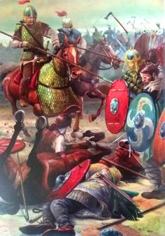Visigoths fighting with the Romans charge Ostrogoths fighting with the Huns at the battle of the Catalaunian Plains.