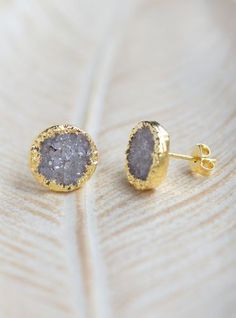 Electroplated Gold Sterling silver Round Druzy Stud Earrings – Kindred Jewelleria