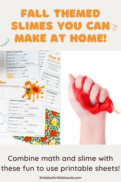 Spark your child's love of learning with these great hands on slime activities! Our printable sheets encourage your child to think like a scientist and use their math skills. Everyone's favorite slime with special themes just right for your kiddos! Plus, your kids will get to apply extra hands-on learning through writing, science, and math activities.Easy to follow basic slime recipes for fluffy slime, borax slime, liquid starch slime, and saline solution slime. Basic Slime Recipe, Fluffy Slime Recipe, Fall Preschool Activities, Stem Activities, Hands On Learning, Early Learning, Saline Solution, Borax Slime, Math Skills