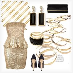 Gold and black party look