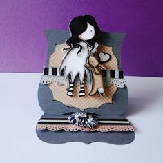 Handmade OOAK Gorjuss Girl Mini Shaped Easel Card I love you little rabbit