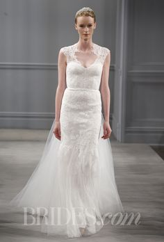"""Brides.com: Our Favorite Lace Wedding Dresses from the Bridal Runways. """"Harper"""" silk white sheath with illusion neckline, cap sleeves, and an open back, Monique Lhuillier  See more Monique Lhuillier wedding dresses."""