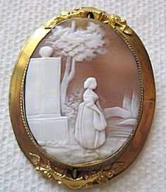 Gold Victorian Mourning Jewelry Cameo & Hair Circa: 1870