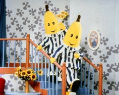 Bananas in pajamas are coming down the stairs...