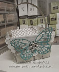 Stampin' Up!- A PERFECT MAY DAY BASKET using the Berry Basket Bigz Die.  I used the Butterflies Thinlit Dies for the butterflies on this.