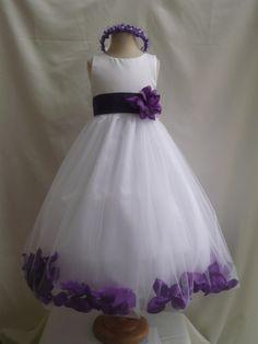My Kid Studio - Flower Girl Rose Petal Dress White with Purple, $41.99 (http://www.mykidstudio.com/flower-girl-rose-petal-dress-white-with-purple/)