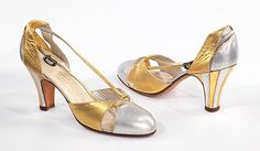 """Evening Shoes, Georgette of Paris (French): ca. 1937, leather. """"The bare sandal-style evening shoes of the 1930s opened the door for designers to experiment with new ideas, freeing them from the pump and other closed shoe styles that had dominated fashion since ancient times. The aesthetics of the period called for designs that were clean and modern. In this example, the folded treatment of the uppers is a simple but innovative and elegant treatment, as is the design of the detached strap."""""""