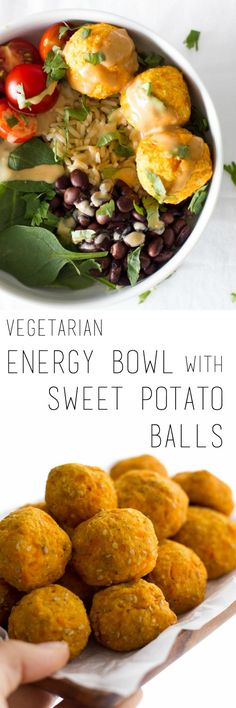 Vegetarian energy bowl with sweet potato balls and peanut sauce - a nourishing everyday family dinner recipe that is easy to prepare. This will fill your belly and soul!