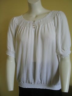 CHICO'S Peasant Top Blouse Tunic Smocked White Scoop Neck Rayon Size 2 #Chicos #Blouse #Versatile